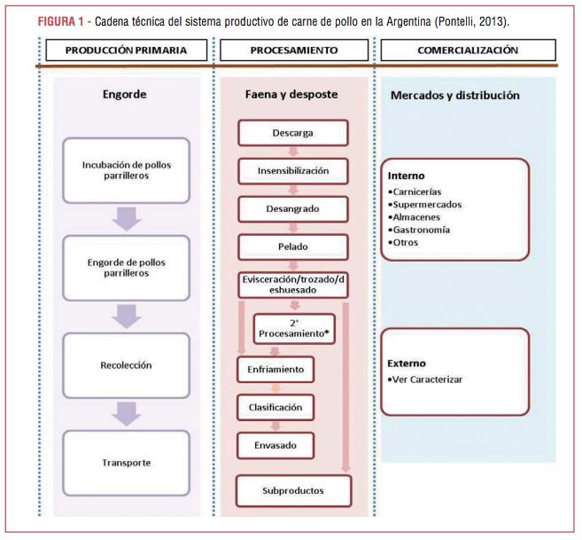 Cadena técnica del sistema productivo de carne de pollo en la Argentina (Pontelli, 2013).